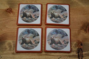 Grizzly Bear Coasters, Glass