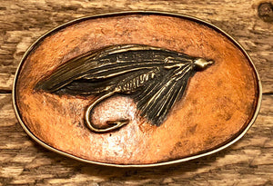 Salmon Fly Bronze Belt Buckle