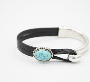 Turquoise Half Cuff Leather Bracelet