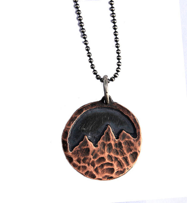 Nature Jewelry Handmade In Epoxy Florida Nature Resin Gifts for her Montana Spruce Copper Hammered Necklace