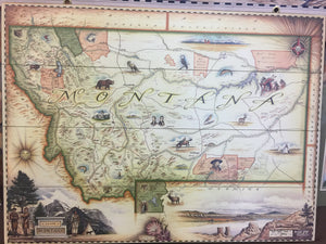 Map of Montana (Mounted- Choose Metal or Wood)