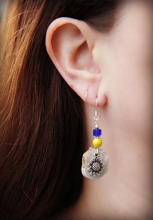 Deer Antler Sunflower Earrings