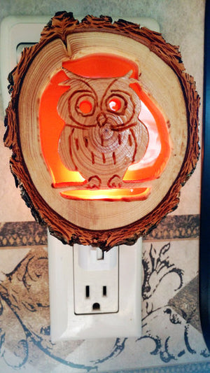 Owl Night Light Carved Wood