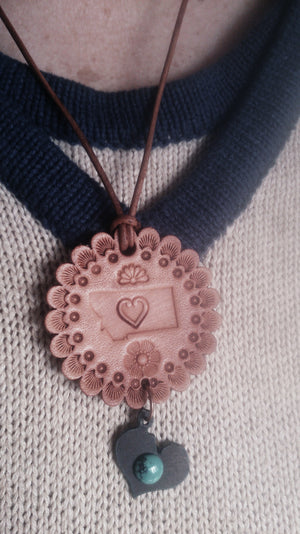 Heart Montana Leather Necklace w/ Charm (Sold Out)