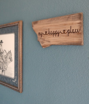 Montana My Happy Place Sign in Barnwood