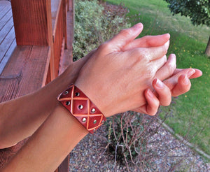 Bordeaux Leather Zig-Zag Cuff With Rivets  Montana jewelry