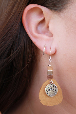 Leather Bear Paw Earrings