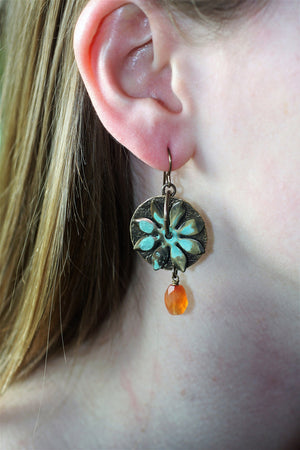 Flower Medallion Earrings Model