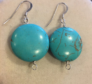 Turquoise Flat Stone Earrings