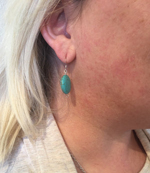 Turquoise Flat Stone Earrings SOLD OUT