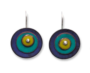 Orbital Enameled Copper Earrings (Color choices)
