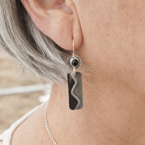 Winding Path Sterling & Onyx Earrings - Montana Jewelry