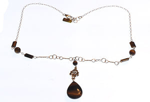 Tiger Eye Pendant- Montana Necklace