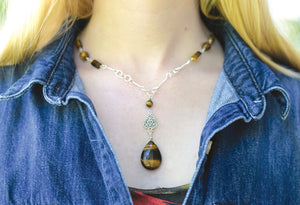 Tiger Eye Pendant Necklace - Montana Jewelry