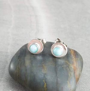 Larimar Stud Earrings, Minimal earrings, Montana Jewelry