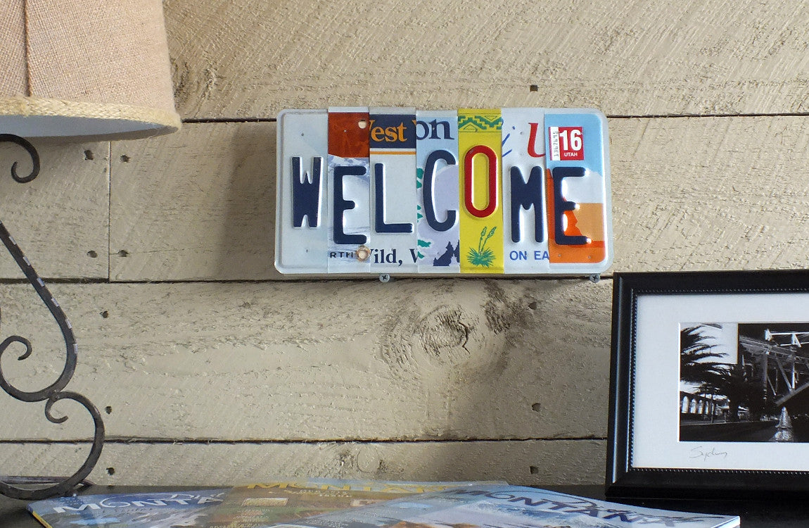 Welcome License Plate Art