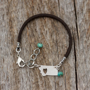 Montana Charm with Turquoise Leather Bracelet