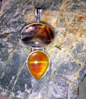 Montana Agate Double Stone Pendant - Distinctly Montana
