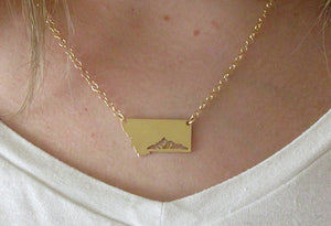 Mountain Range Montana Necklace (Gold or Silver)