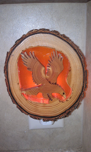 Eagle Night Light Carved Wood
