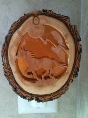 Carved Wood Horse Night Light