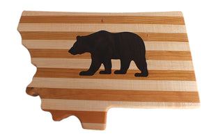Hardwood Montana Cutting Board With Grizzly Bear