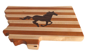 Montana Shaped Wood Cutting Board, Wild Stallion