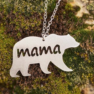 Mama Bear Necklace, Silver