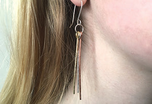 Silver, Brass & Copper Dangle Earrings