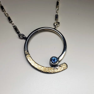 Montana Sapphire Gold Dust Wave Necklace