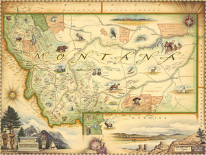 Hand-Drawn Map of Montana