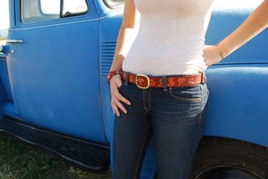 Bordeaux Leather Belt, Cowgirl Stamp