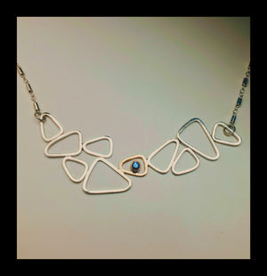 Sterling Pebble with Montana Sapphire Necklace