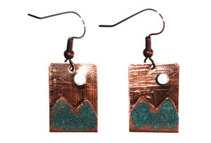 copper square earrings