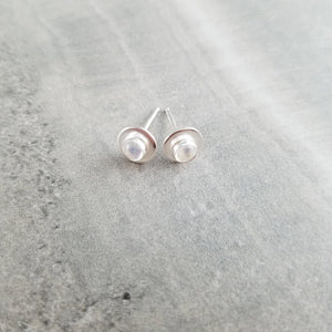 Rainbow Moonstone Stud Earrings, Minimal earrings