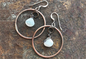 Rainbow Moonstone Hoop Earrings- Montana Jewelry