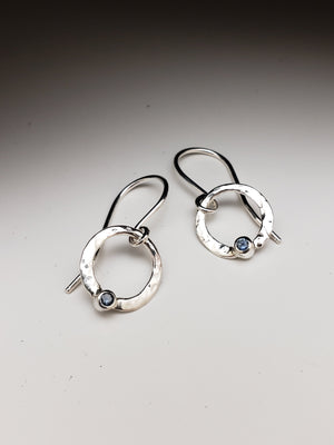 Dainty Silver Drop Earring with Montana Sapphire