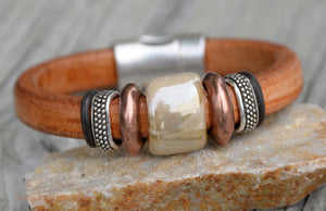 Light Color Leather Bracelet, Glass Bead