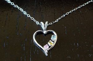 Multi-Color Montana Sapphire Heart Necklace