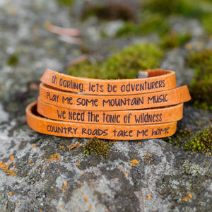 Outdoor Quote Leather Bracelets stacked