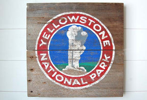 Old Faithful Yellowstone Barnwood Sign