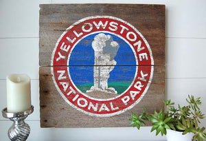 Yellowstone Old Faithful Barnwood Sign