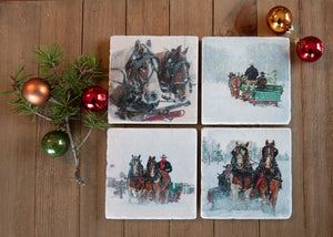 Sleigh Ride in Montana Stone Coasters