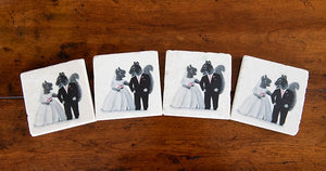Montana Squirrels Bride & Groom Coasters