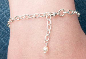 Sterling Three Disc Bracelet/ Crystal or Pearl Accent SOLD OUT