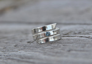 Blue Sapphire Ring, Sterling Spiral