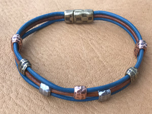 Tumbleweed Leather Bracelet, Blue
