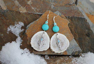 Turquoise Feather Elk Antler Earrings