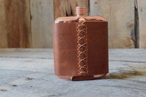 Leather & Copper Flask