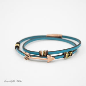Arrow Wrap Skinny Leather Bracelet